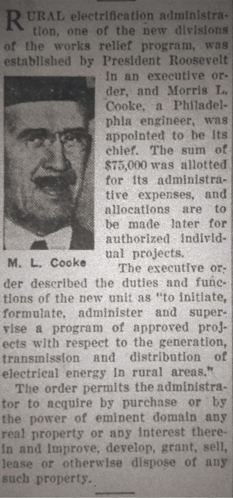 newspaper article featuring the Rural Electrification Administration and M. L. Cooke
