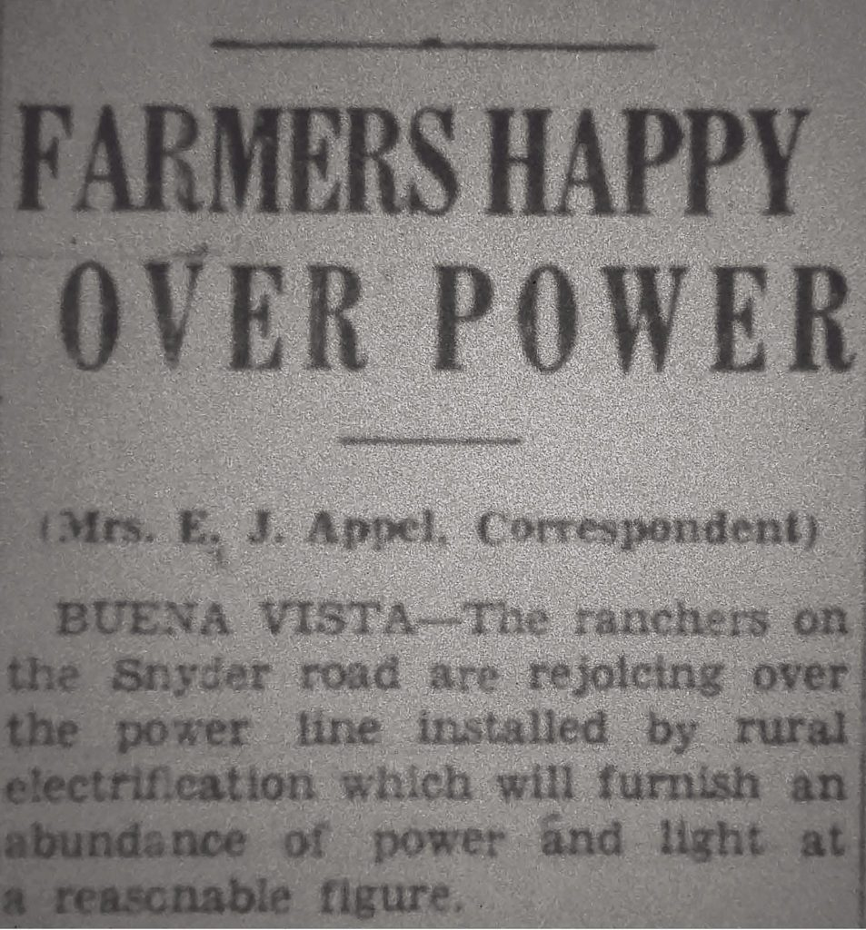 A News Headline from the 1930s: Farmers Happy Over Power