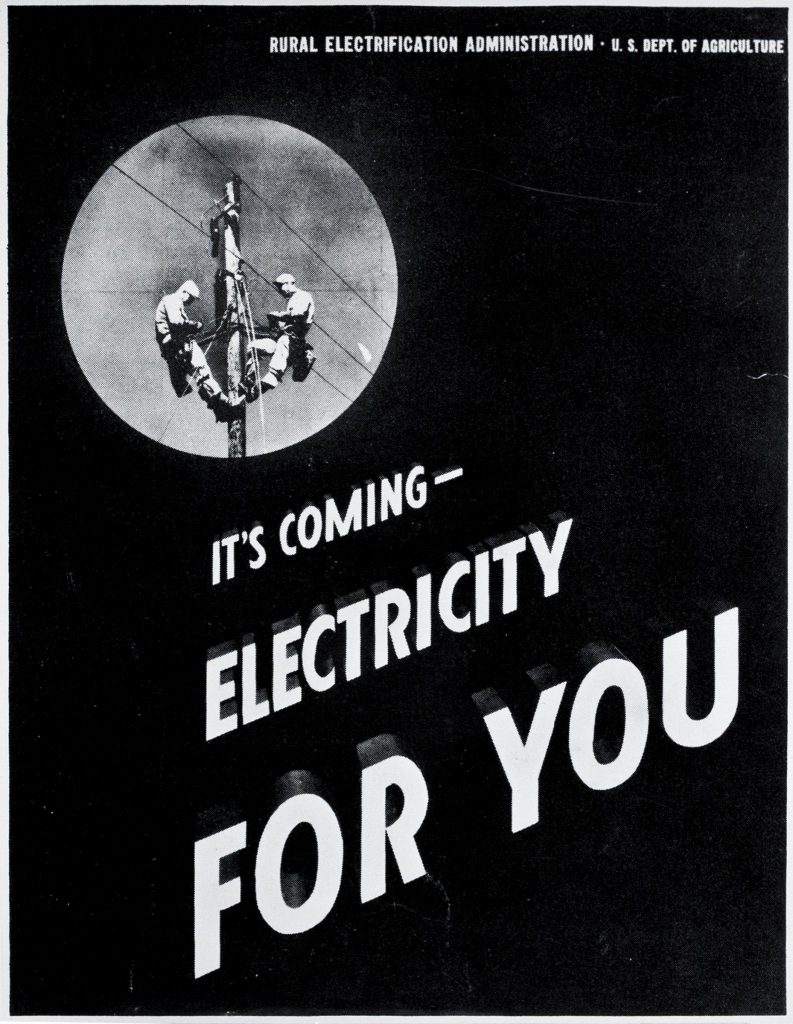 A vintage REA poster - It's Coming Electricity For You - Rural Electrification Administration - U.S. Dept. of Agriculture