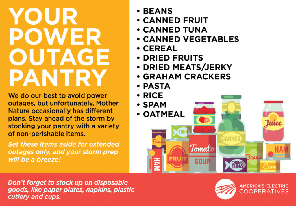 Your Power Outage Pantry: WE do our best to avoid power outages, but unfortunately, Mother Nature occassionally has different plans. Stay ahead of the storm by stocking your pantry with a variety of non-perishable items. Set these items aside for exteded outages only, and your storm prep will be a breeze! Beans, Canned Fruit, Canned Tuna, Canned Vegetables, Cereal, Dried Fruits, Dried Meats/Jerky, Graham Crackers, Pasta, Rice, Spam, Oatmeal, and DOn't forget to stock up on disposable goods, like paper plates, napkins, plastic cutlery and cups.