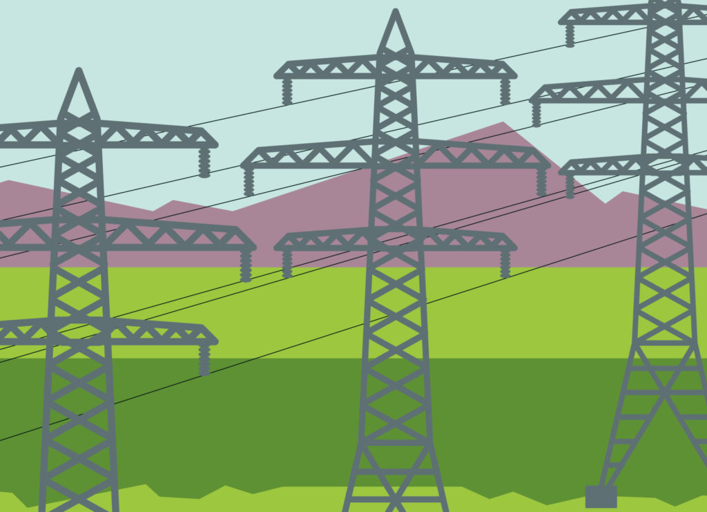 an illustration of three electrical transmission towers