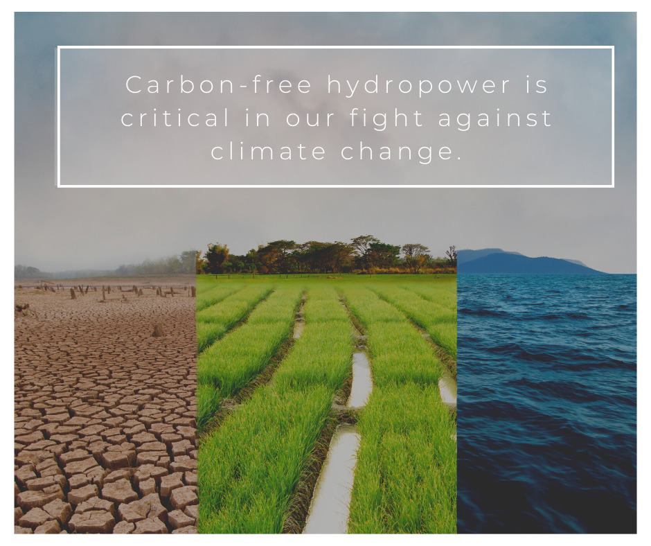 "The image has three photos, on the left is dry, cracked earth, the middle is irrigated green crops, on the right is an image of the ocean. The text says ""Carbon free hydropower is critical in our fight against climate change."""