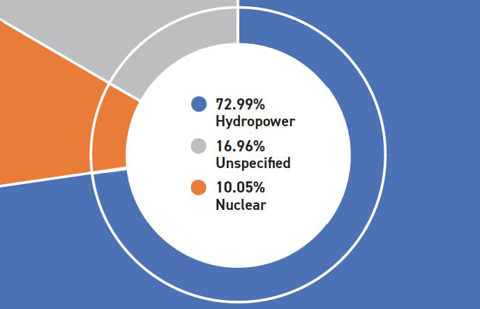 2019 Benton REA Fuel Mix Pie Chart: 72.99% Hydropower, 16.96% Unspecified, 10.05% Nuclear
