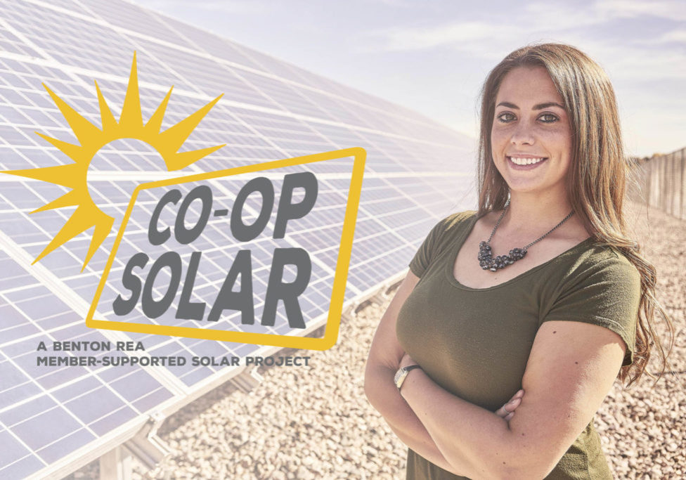 Co-op Solar Logo and photo of woman standing next to a solar farm