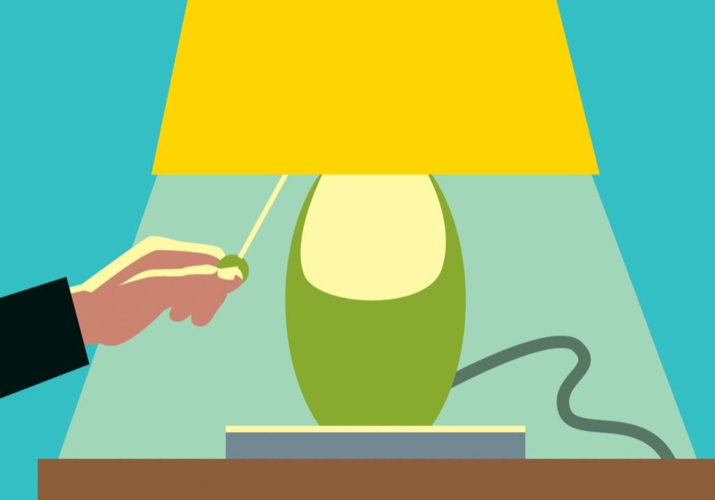 Illustration of a person turning on a lamp.