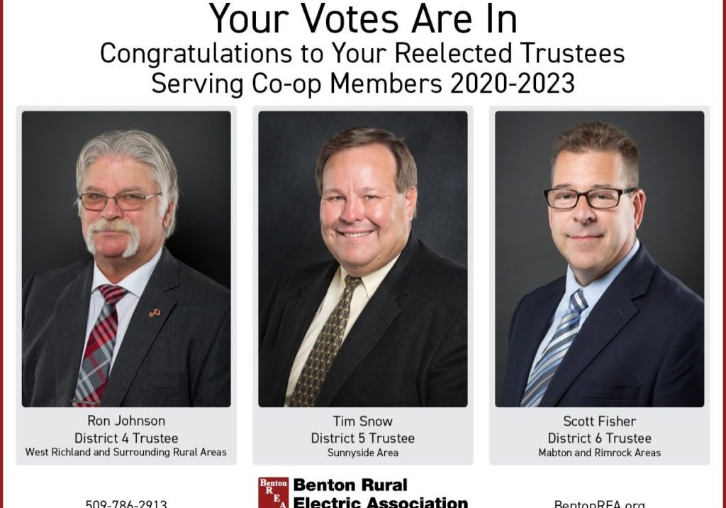 "Image of three elected trustees. Text says, ""Your votes are in. Congratulations to your reelected trustees serving co-op members 2020-2023. Ron Johnson district 4 trustee West Richland and surrounding rural areas. Tim Grow district 5 trustee Sunnyside area. Scott Fisher District 6 Trustee Mabton and Rimrock areas."