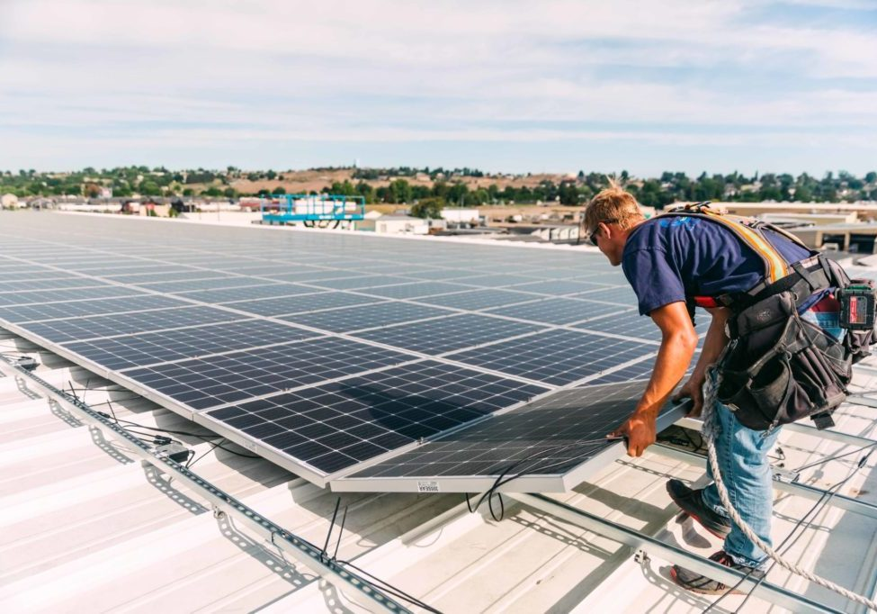 On August 31, 2020, an Ellensburg Solar technician installed solar panels on the roof of a YCH building in Sunnyside. PHOTO COURTESY OF YCH